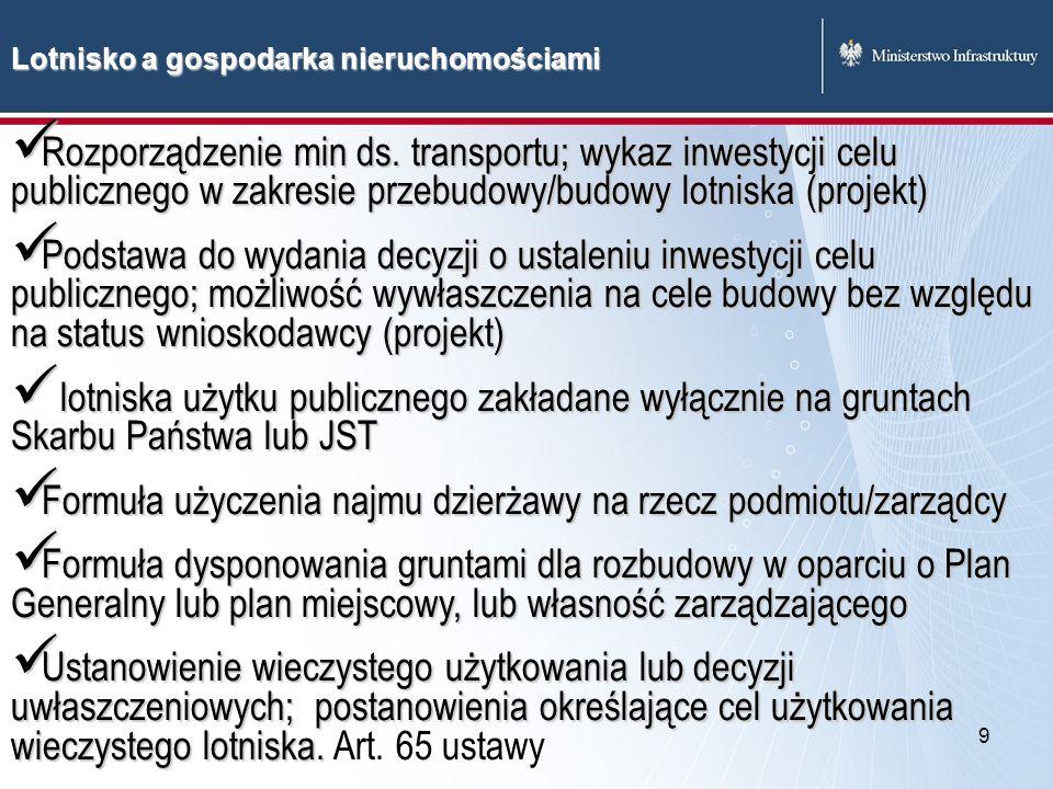 9 Lotnisko a gospodarka nieruchomościami Rozporządzenie min ds. transportu; wykaz inwestycji celu publicznego w zakresie przebudowy/budowy lotniska (p
