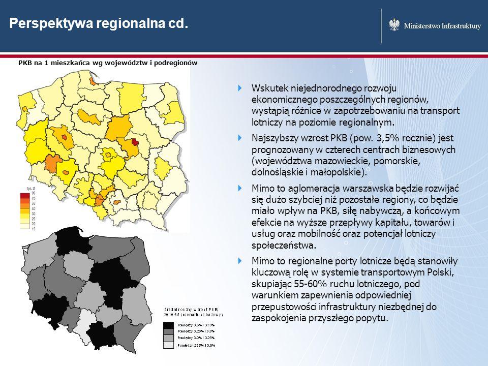Wskutek niejednorodnego rozwoju ekonomicznego poszczególnych regionów, wystąpią różnice w zapotrzebowaniu na transport lotniczy na poziomie regionalny