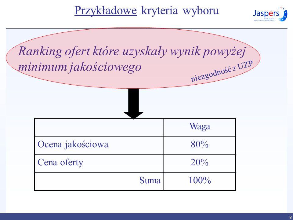 Przykładowe kryteria wyboru Waga Ocena jakościowa80% Cena oferty20% Suma100% 8 Ranking ofert które uzyskały wynik powyżej minimum jakościowego niezgod