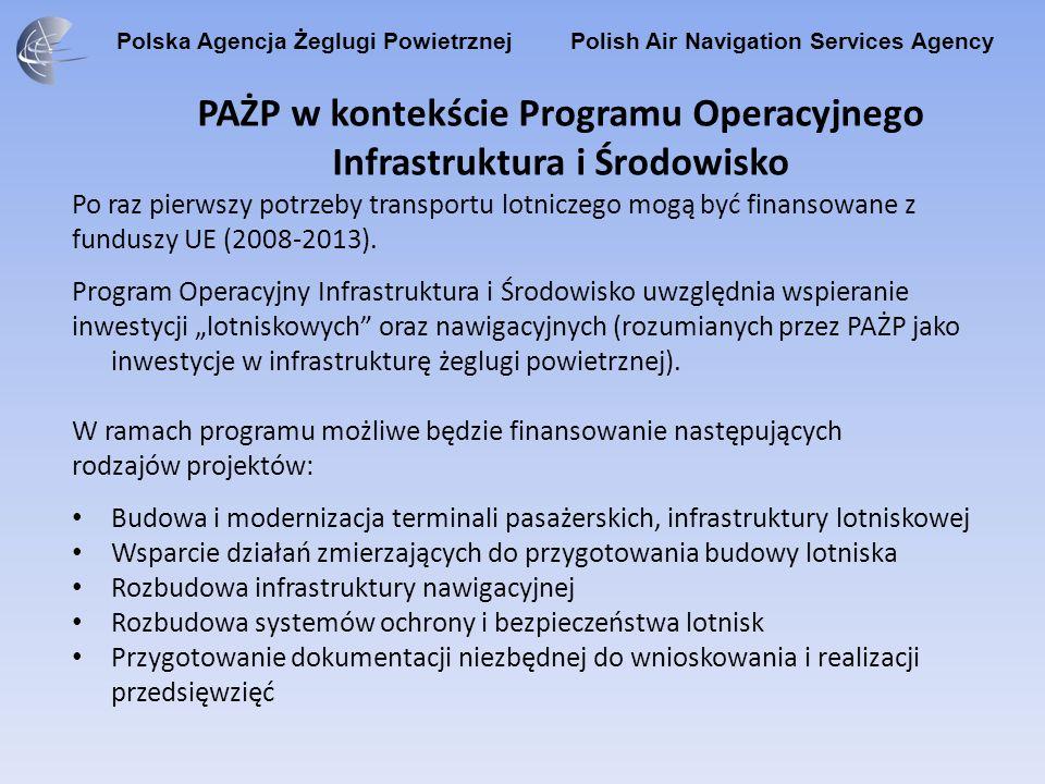 Polska Agencja Żeglugi Powietrznej Polish Air Navigation Services Agency PAŻP w kontekście Programu Operacyjnego Infrastruktura i Środowisko Po raz pi