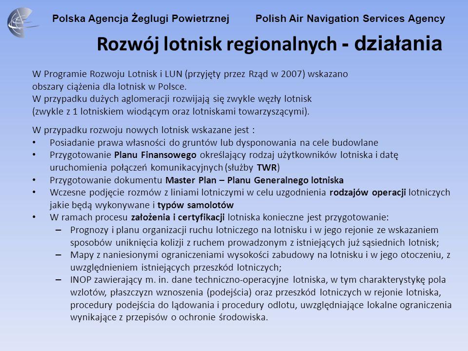 Polska Agencja Żeglugi Powietrznej Polish Air Navigation Services Agency Rozwój lotnisk regionalnych - działania W Programie Rozwoju Lotnisk i LUN (pr