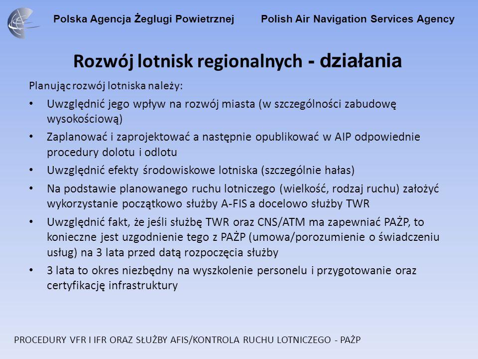 Polska Agencja Żeglugi Powietrznej Polish Air Navigation Services Agency Rozwój lotnisk regionalnych - działania Planując rozwój lotniska należy: Uwzg