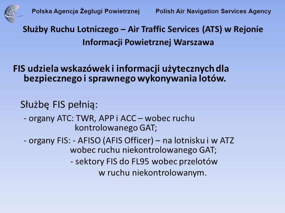 Polska Agencja Żeglugi Powietrznej Polish Air Navigation Services Agency Służby Ruchu Lotniczego – Air Traffic Services (ATS) w Rejonie Informacji Powietrznej Warszawa Służbę Alarmową (ALRS) pełnią organy pełniące służbę ATC oraz organy pełniące służbę FIS.