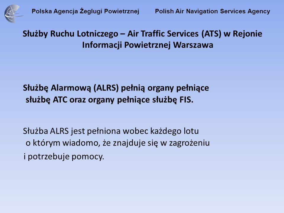 Polska Agencja Żeglugi Powietrznej Polish Air Navigation Services Agency Służby Ruchu Lotniczego – Air Traffic Services (ATS) w Rejonie Informacji Powietrznej Warszawa Służba Kontroli Ruchu Lotniczego (ATC): - zapobiega zderzeniom się statków powietrznych podczas lotu; - zapobiega zderzeniom statków powietrznych ze sobą na polu manewrowym i z przeszkodami na tym polu; - usprawnia i utrzymuje uporządkowany przepływ ruchu lotniczego.