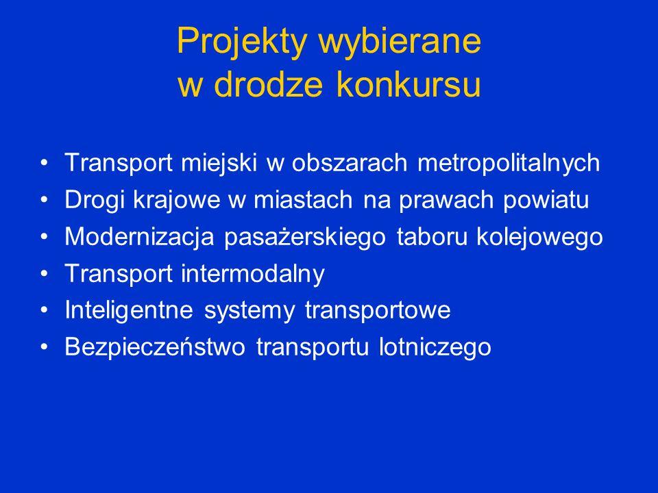 Projekty wybierane w drodze konkursu Transport miejski w obszarach metropolitalnych Drogi krajowe w miastach na prawach powiatu Modernizacja pasażersk