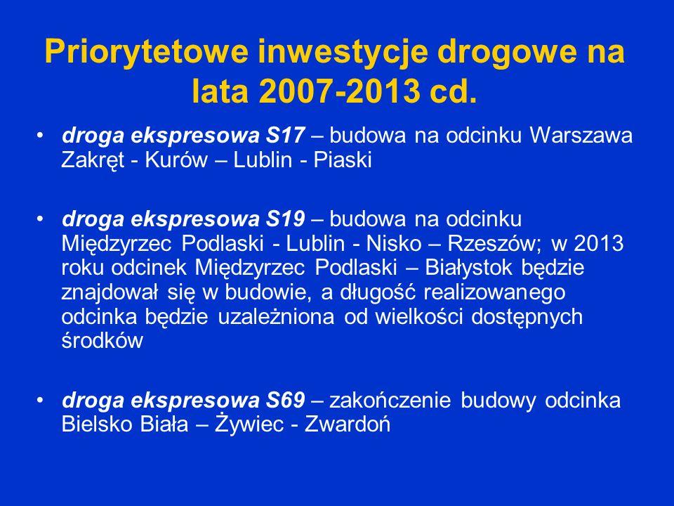 Priorytetowe inwestycje drogowe na lata 2007-2013 cd. droga ekspresowa S17 – budowa na odcinku Warszawa Zakręt - Kurów – Lublin - Piaski droga ekspres