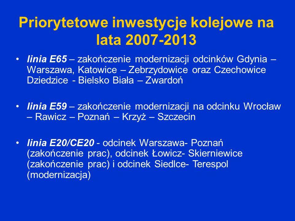 Priorytetowe inwestycje kolejowe na lata 2007-2013 linia E65 – zakończenie modernizacji odcinków Gdynia – Warszawa, Katowice – Zebrzydowice oraz Czech