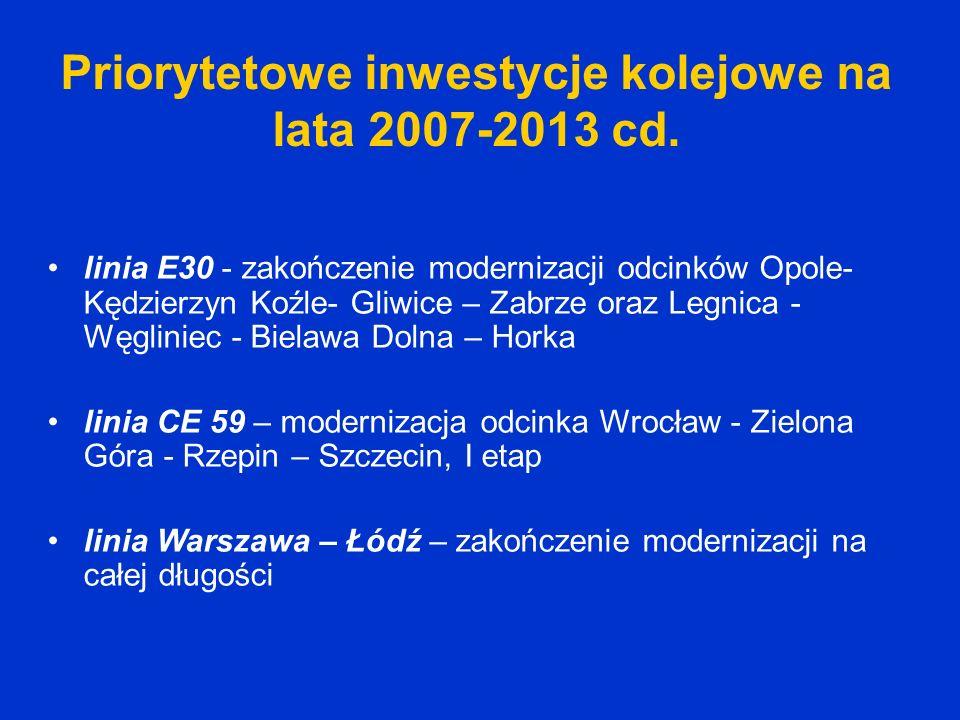 Priorytetowe inwestycje kolejowe na lata 2007-2013 cd. linia E30 - zakończenie modernizacji odcinków Opole- Kędzierzyn Koźle- Gliwice – Zabrze oraz Le