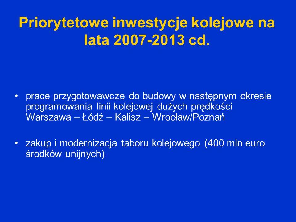 Priorytetowe inwestycje kolejowe na lata 2007-2013 cd. prace przygotowawcze do budowy w następnym okresie programowania linii kolejowej dużych prędkoś