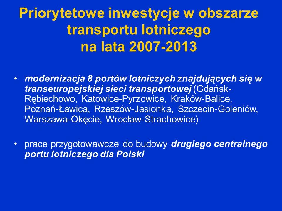 Priorytetowe inwestycje w obszarze transportu lotniczego na lata 2007-2013 modernizacja 8 portów lotniczych znajdujących się w transeuropejskiej sieci