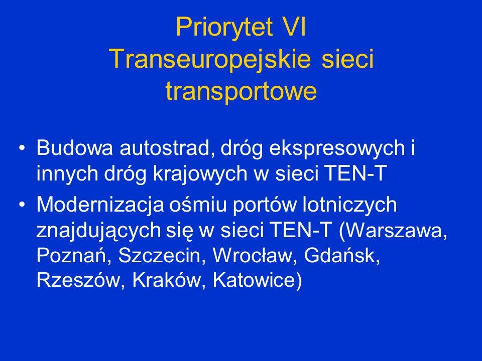 Priorytet VI Transeuropejskie sieci transportowe Budowa autostrad, dróg ekspresowych i innych dróg krajowych w sieci TEN-T Modernizacja ośmiu portów l
