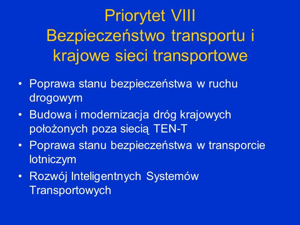 Priorytet VIII Bezpieczeństwo transportu i krajowe sieci transportowe Poprawa stanu bezpieczeństwa w ruchu drogowym Budowa i modernizacja dróg krajowy