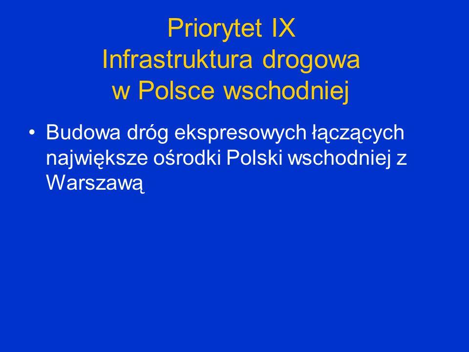 Projekty kluczowe wybierane bezpośrednio przez Ministerstwo Transportu Autostrady, drogi ekspresowe, obwodnice miast, wzmocnienia dróg do nośności115 kN/oś Modernizacja linii kolejowych (zarówno wchodzących w skład sieci TEN-T, jak i położonych poza tą siecią) Infrastruktura portów lotniczych Inwestycje żeglugowe na śródlądowych drogach wodnych Bezpieczeństwo ruchu drogowego