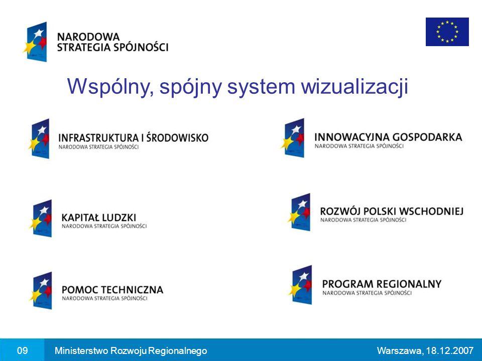 09Ministerstwo Rozwoju RegionalnegoWarszawa, 18.12.2007 Wspólny, spójny system wizualizacji