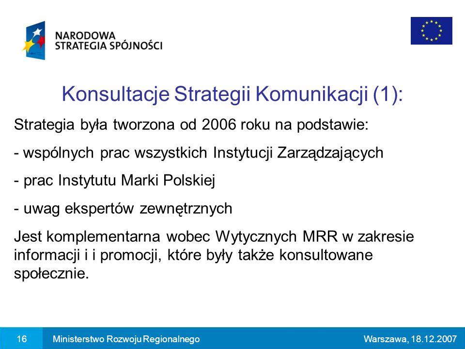 Konsultacje Strategii Komunikacji (1): 16Ministerstwo Rozwoju RegionalnegoWarszawa, 18.12.2007 Strategia była tworzona od 2006 roku na podstawie: - wspólnych prac wszystkich Instytucji Zarządzających - prac Instytutu Marki Polskiej - uwag ekspertów zewnętrznych Jest komplementarna wobec Wytycznych MRR w zakresie informacji i i promocji, które były także konsultowane społecznie.