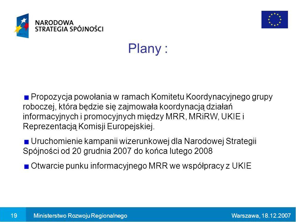 19Ministerstwo Rozwoju RegionalnegoWarszawa, 18.12.2007 Propozycja powołania w ramach Komitetu Koordynacyjnego grupy roboczej, która będzie się zajmowała koordynacją działań informacyjnych i promocyjnych między MRR, MRiRW, UKIE i Reprezentacją Komisji Europejskiej.