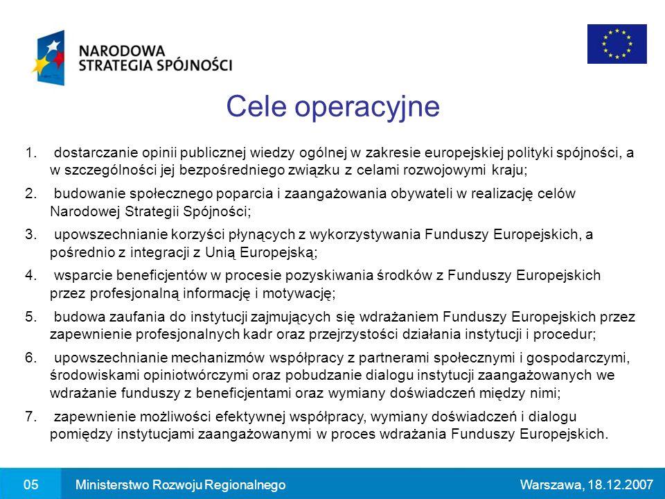 1. dostarczanie opinii publicznej wiedzy ogólnej w zakresie europejskiej polityki spójności, a w szczególności jej bezpośredniego związku z celami roz