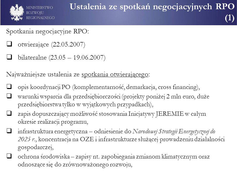 Ustalenia ze spotkań negocjacyjnych RPO (1) Spotkania negocjacyjne RPO: otwierające (22.05.2007) bilateralne (23.05 – 19.06.2007) Najważniejsze ustale