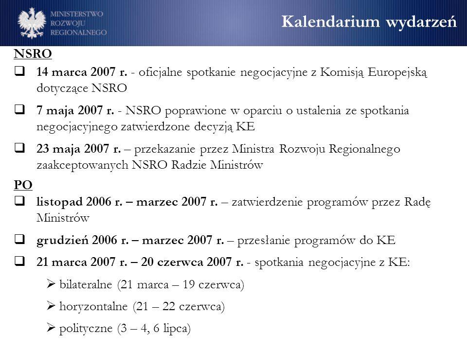 Kalendarium wydarzeń NSRO 14 marca 2007 r. - oficjalne spotkanie negocjacyjne z Komisją Europejską dotyczące NSRO 7 maja 2007 r. - NSRO poprawione w o