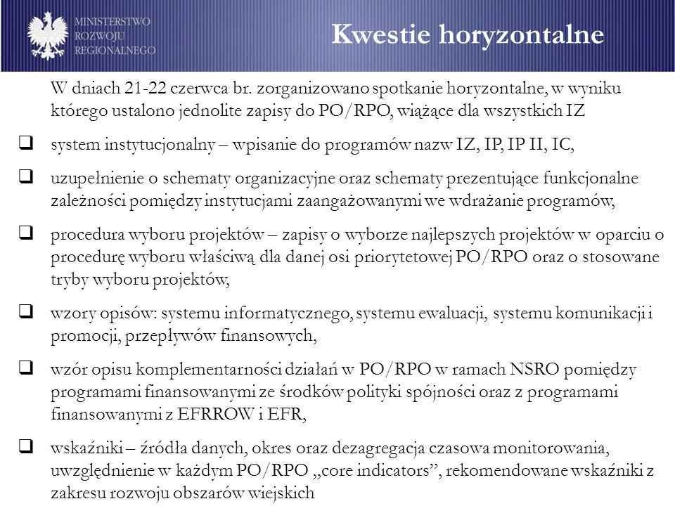 Kwestie horyzontalne W dniach 21-22 czerwca br. zorganizowano spotkanie horyzontalne, w wyniku którego ustalono jednolite zapisy do PO/RPO, wiążące dl