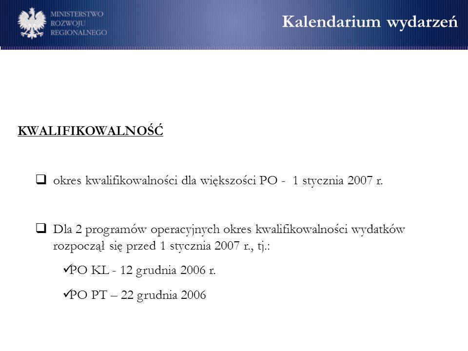Kalendarium wydarzeń KWALIFIKOWALNOŚĆ okres kwalifikowalności dla większości PO - 1 stycznia 2007 r. Dla 2 programów operacyjnych okres kwalifikowalno