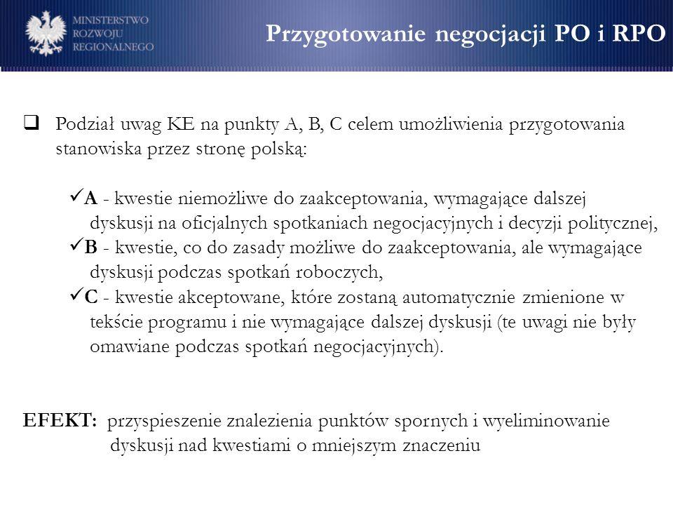 Przygotowanie negocjacji PO i RPO Podział uwag KE na punkty A, B, C celem umożliwienia przygotowania stanowiska przez stronę polską: A - kwestie niemo