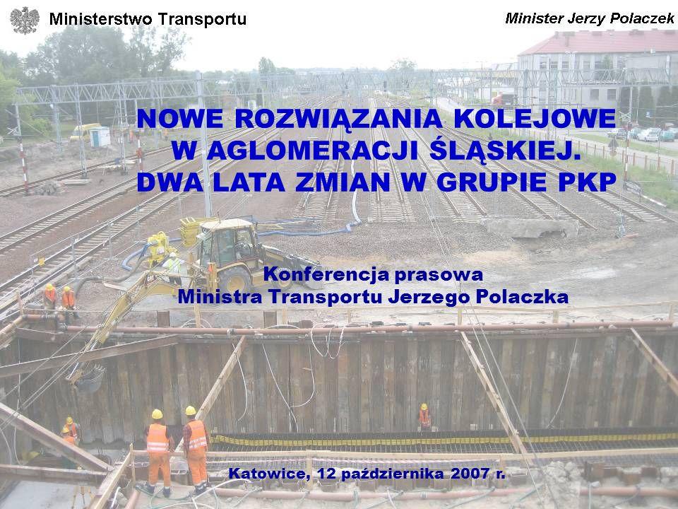 Konferencja prasowa Ministra Transportu Jerzego Polaczka NOWE ROZWIĄZANIA KOLEJOWE W AGLOMERACJI ŚLĄSKIEJ. DWA LATA ZMIAN W GRUPIE PKP Katowice, 12 pa