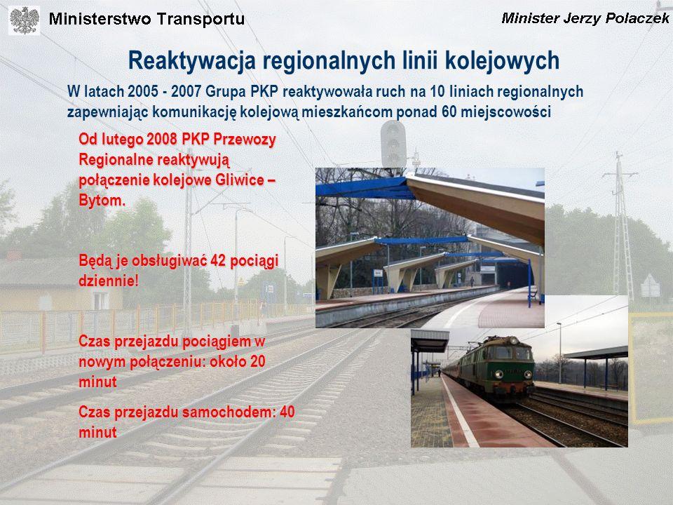 Reaktywacja regionalnych linii kolejowych W latach 2005 - 2007 Grupa PKP reaktywowała ruch na 10 liniach regionalnych zapewniając komunikację kolejową