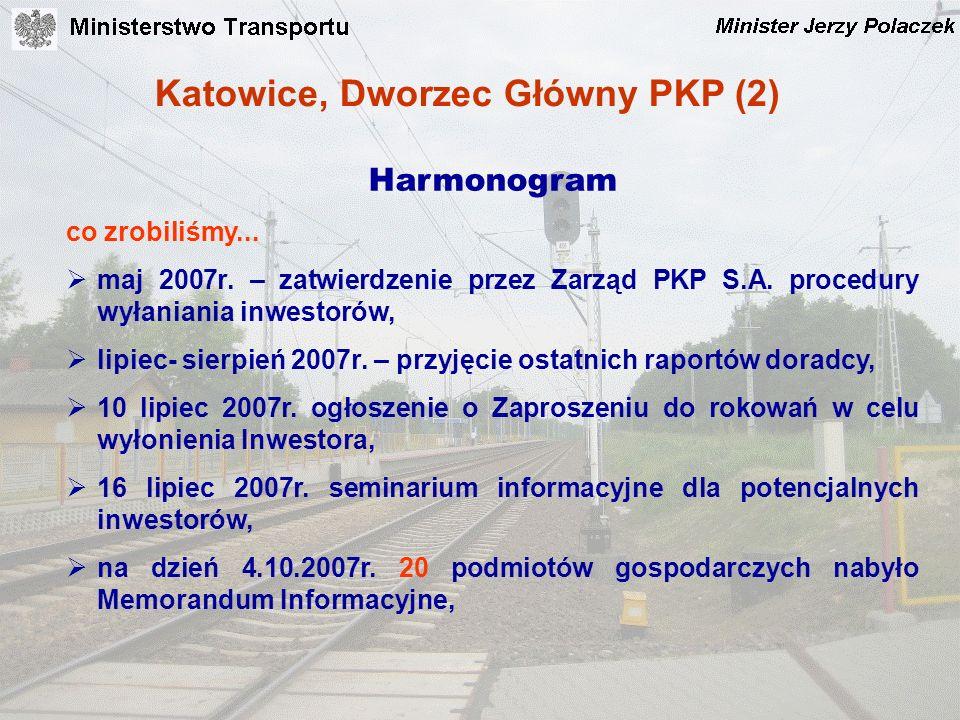Katowice, Dworzec Główny PKP (2) Harmonogram co zrobiliśmy... maj 2007r. – zatwierdzenie przez Zarząd PKP S.A. procedury wyłaniania inwestorów, lipiec