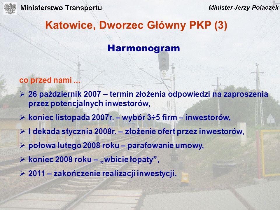 Katowice, Dworzec Główny PKP (3) Harmonogram co przed nami... 26 październik 2007 – termin złożenia odpowiedzi na zaproszenia przez potencjalnych inwe