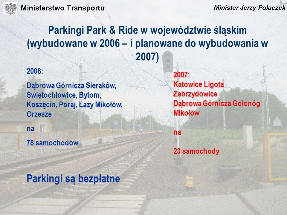 Parkingi Park & Ride w województwie śląskim (wybudowane w 2006 – i planowane do wybudowania w 2007) 2006: Dąbrowa Górnicza Sieraków, Świętochłowice, B