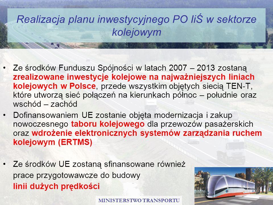 Realizacja planu inwestycyjnego PO IiŚ w sektorze kolejowym Ze środków Funduszu Spójności w latach 2007 – 2013 zostaną zrealizowane inwestycje kolejow
