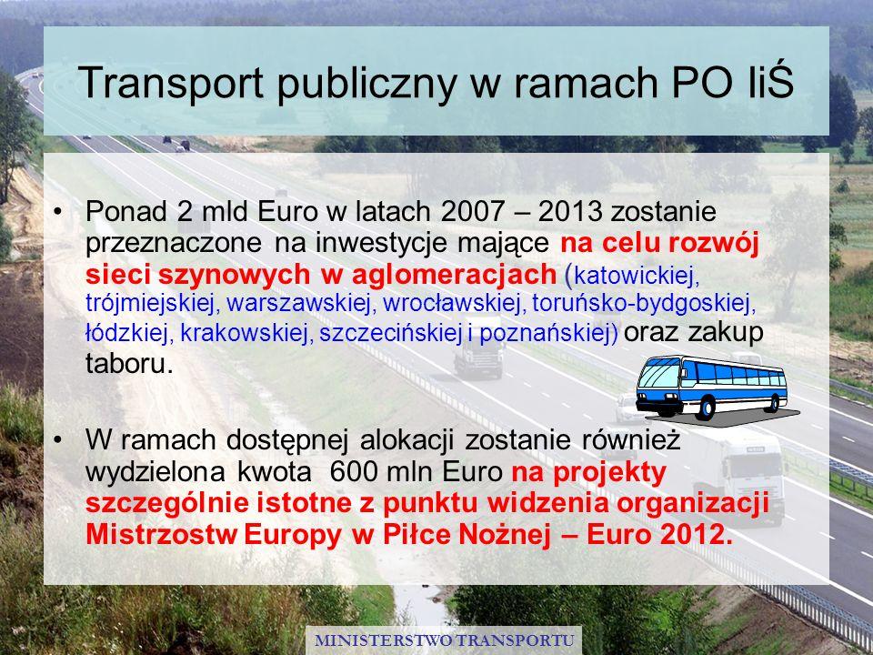 Transport publiczny w ramach PO IiŚ Ponad 2 mld Euro w latach 2007 – 2013 zostanie przeznaczone na inwestycje mające na celu rozwój sieci szynowych w