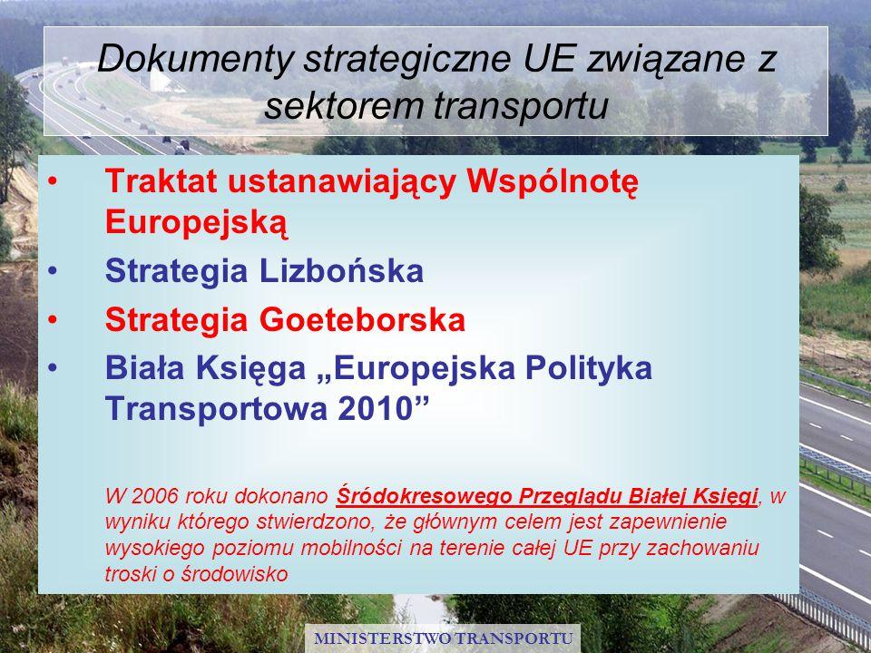 Główne cele UE w sektorze transportu Rozwój transeuropejskiej sieci transportowej Promowanie zrównoważonego rozwoju transportu Wyrównanie dysproporcji rozwojowych pomiędzy regionami MINISTERSTWO TRANSPORTU