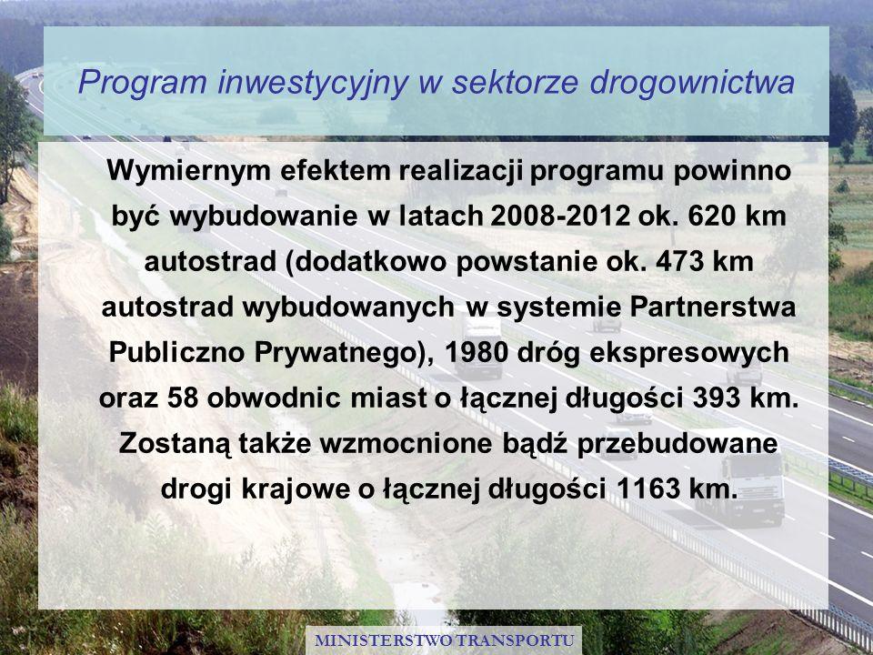 Program inwestycyjny w sektorze drogownictwa Wymiernym efektem realizacji programu powinno być wybudowanie w latach 2008-2012 ok. 620 km autostrad (do