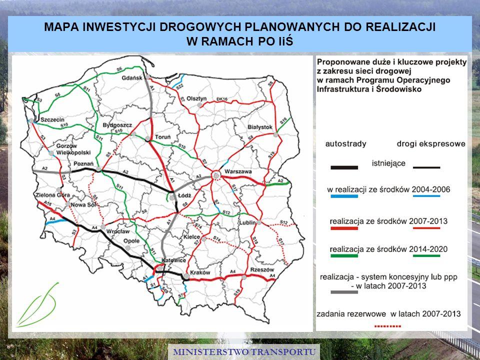 Realizacja planu inwestycyjnego PO IiŚ w sektorze kolejowym Ze środków Funduszu Spójności w latach 2007 – 2013 zostaną zrealizowane inwestycje kolejowe na najważniejszych liniach kolejowych w Polsce, przede wszystkim objętych siecią TEN-T, które utworzą sieć połączeń na kierunkach północ – południe oraz wschód – zachód Dofinansowaniem UE zostanie objęta modernizacja i zakup nowoczesnego taboru kolejowego dla przewozów pasażerskich oraz wdrożenie elektronicznych systemów zarządzania ruchem kolejowym (ERTMS) Ze środków UE zostaną sfinansowane również prace przygotowawcze do budowy linii dużych prędkości MINISTERSTWO TRANSPORTU