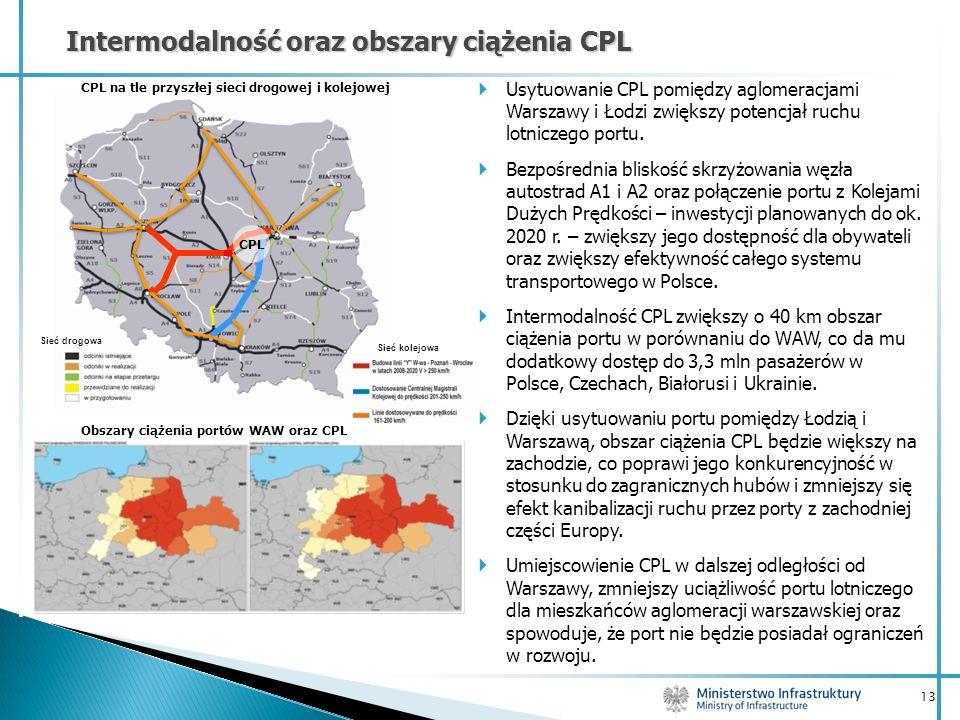 13 Intermodalność oraz obszary ciążenia CPL Obszary ciążenia portów WAW oraz CPL CPL na tle przyszłej sieci drogowej i kolejowej CPL Usytuowanie CPL p