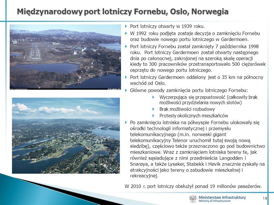 19 Port lotniczy otwarty w 1939 roku. W 1992 roku podjęta zostaje decyzja o zamknięciu Fornebu oraz budowie nowego portu lotniczego w Gardermoen. Port
