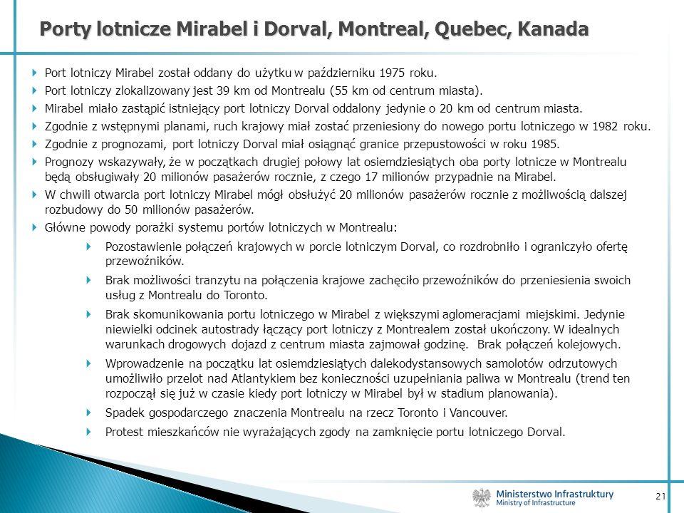 21 Porty lotnicze Mirabel i Dorval, Montreal, Quebec, Kanada Port lotniczy Mirabel został oddany do użytku w październiku 1975 roku. Port lotniczy zlo