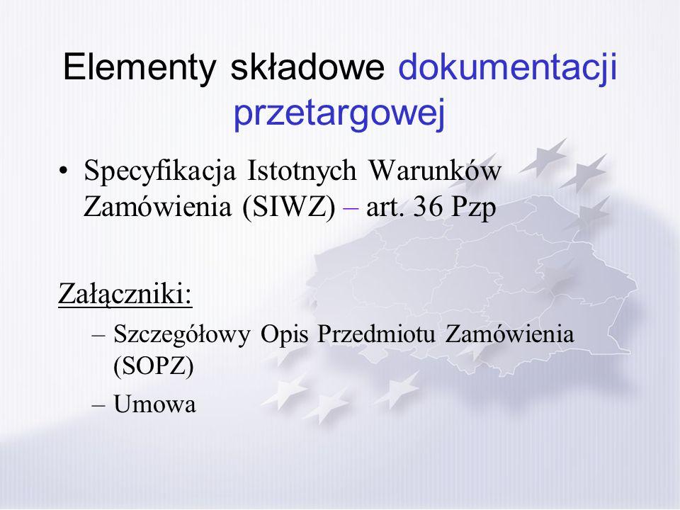 Elementy składowe dokumentacji przetargowej Specyfikacja Istotnych Warunków Zamówienia (SIWZ) – art. 36 Pzp Załączniki: –Szczegółowy Opis Przedmiotu Z