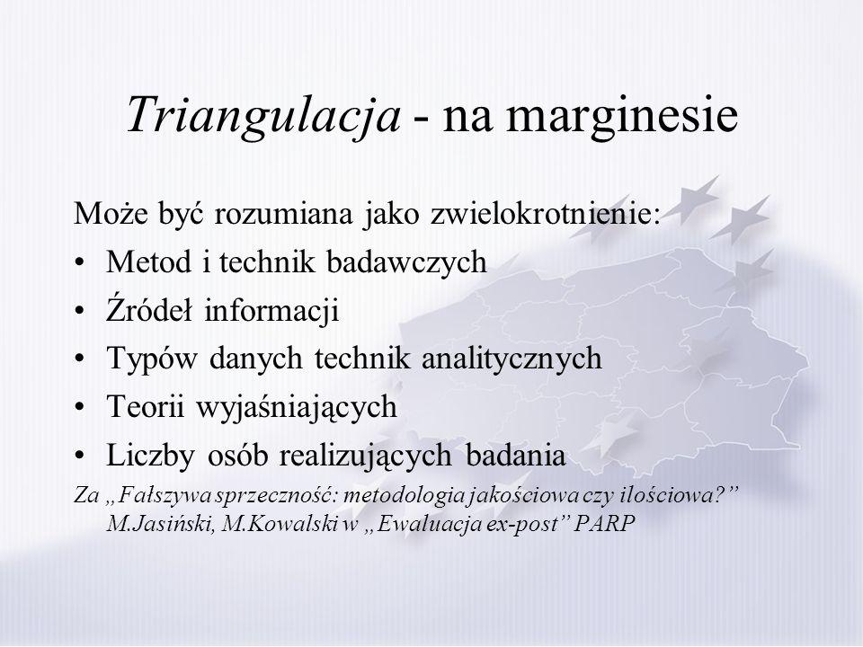 Triangulacja - na marginesie Może być rozumiana jako zwielokrotnienie: Metod i technik badawczych Źródeł informacji Typów danych technik analitycznych