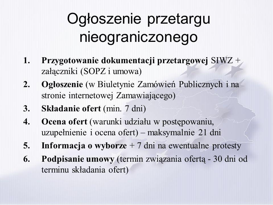 Ogłoszenie przetargu nieograniczonego 1.Przygotowanie dokumentacji przetargowej SIWZ + załączniki (SOPZ i umowa) 2.Ogłoszenie (w Biuletynie Zamówień P
