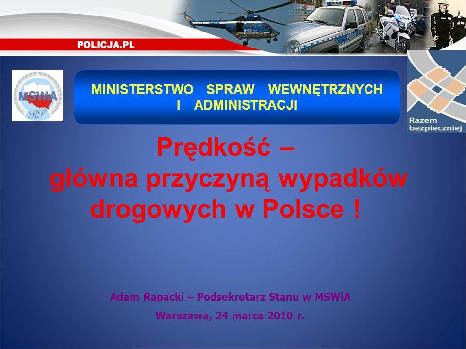 Adam Rapacki – Podsekretarz Stanu w MSWiA Warszawa, 24 marca 2010 r. MINISTERSTWO SPRAW WEWNĘTRZNYCH I ADMINISTRACJI Prędkość – główna przyczyną wypad
