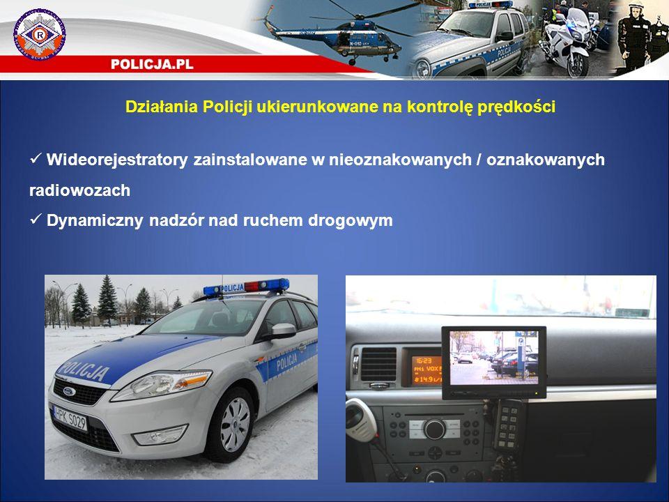 Wideorejestratory zainstalowane w nieoznakowanych / oznakowanych radiowozach Dynamiczny nadzór nad ruchem drogowym Działania Policji ukierunkowane na