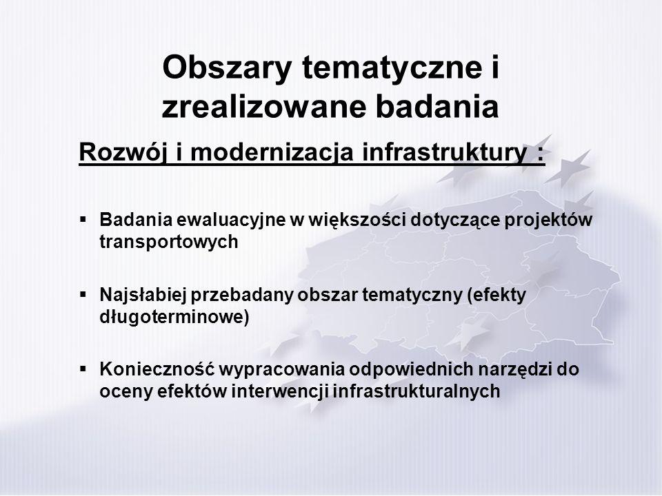 Obszary tematyczne i zrealizowane badania Rozwój i modernizacja infrastruktury : Badania ewaluacyjne w większości dotyczące projektów transportowych N