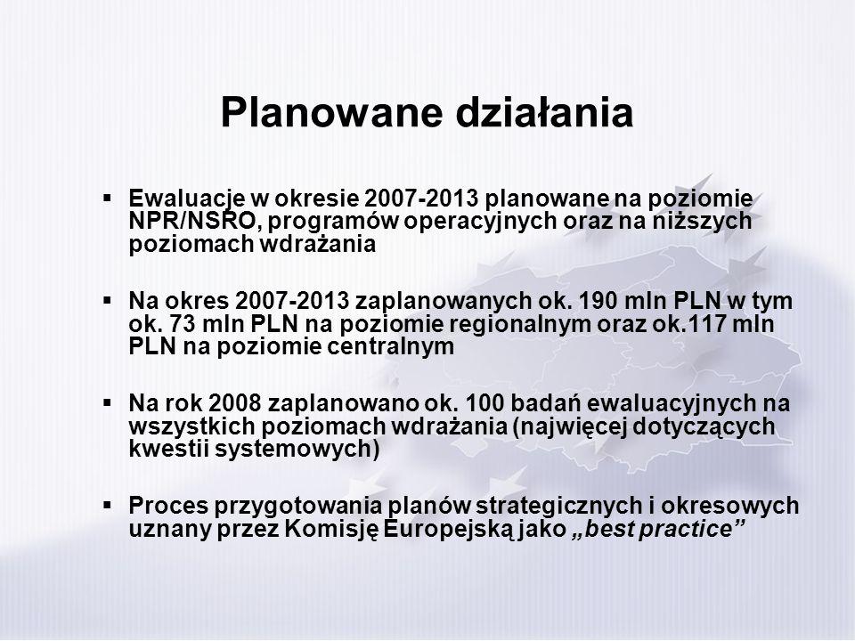 Planowane działania Ewaluacje w okresie 2007-2013 planowane na poziomie NPR/NSRO, programów operacyjnych oraz na niższych poziomach wdrażania Na okres