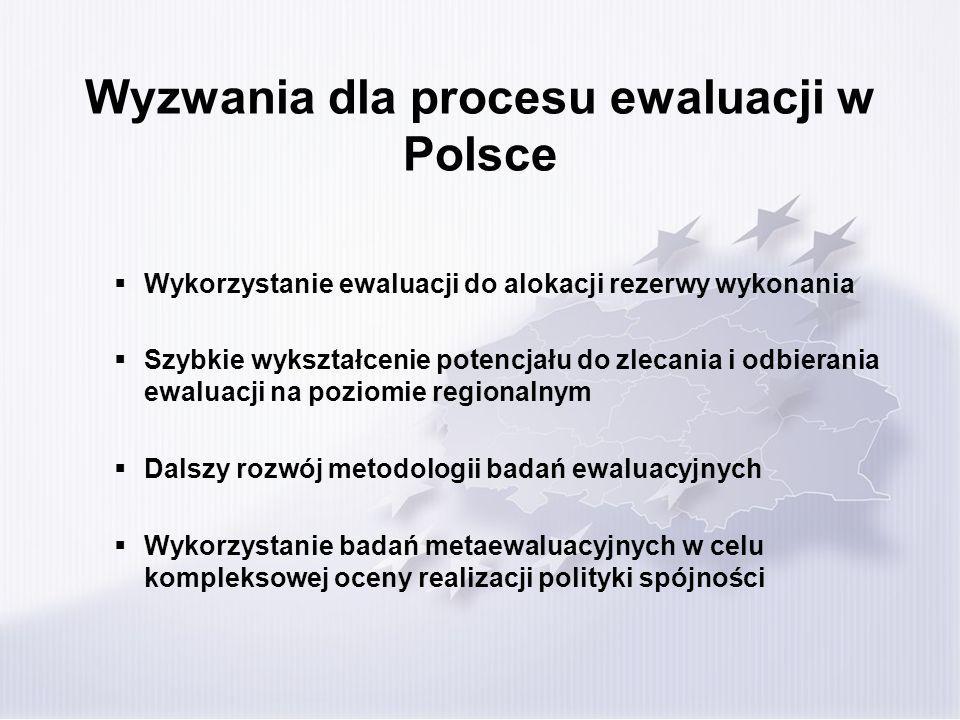 Wyzwania dla procesu ewaluacji w Polsce Wykorzystanie ewaluacji do alokacji rezerwy wykonania Szybkie wykształcenie potencjału do zlecania i odbierani