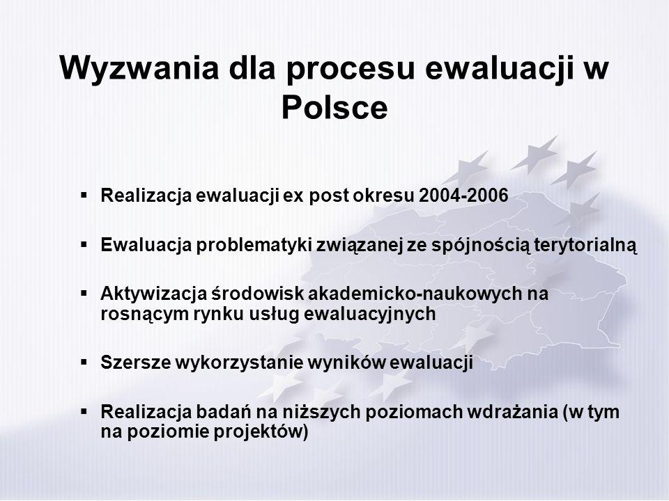 Wyzwania dla procesu ewaluacji w Polsce Realizacja ewaluacji ex post okresu 2004-2006 Ewaluacja problematyki związanej ze spójnością terytorialną Akty