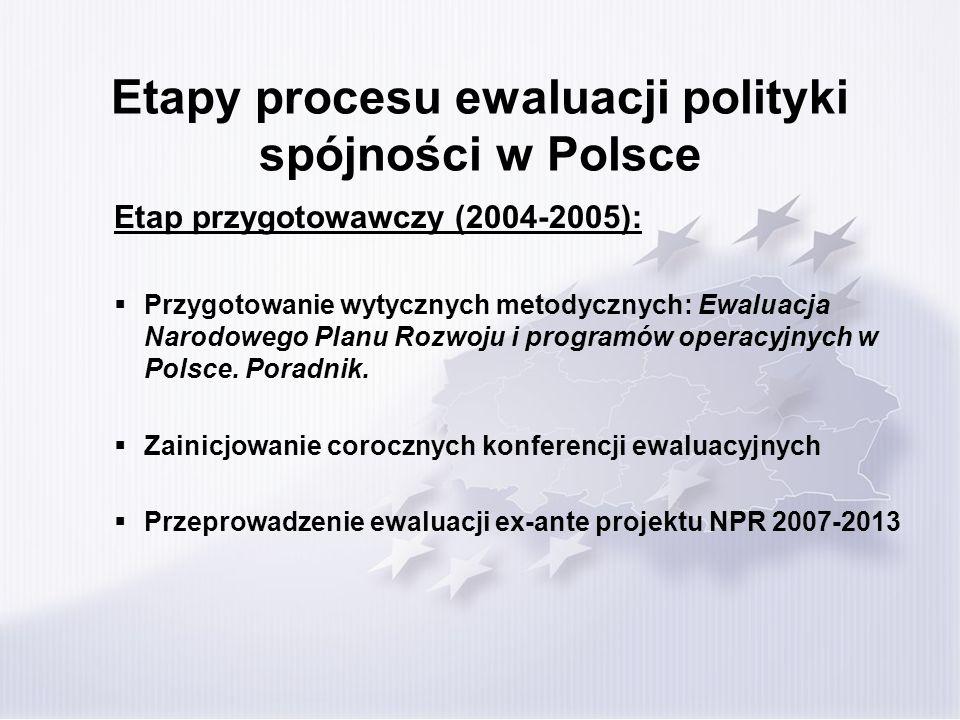 Etapy procesu ewaluacji polityki spójności w Polsce Etap przygotowawczy (2004-2005): Przygotowanie wytycznych metodycznych: Ewaluacja Narodowego Planu