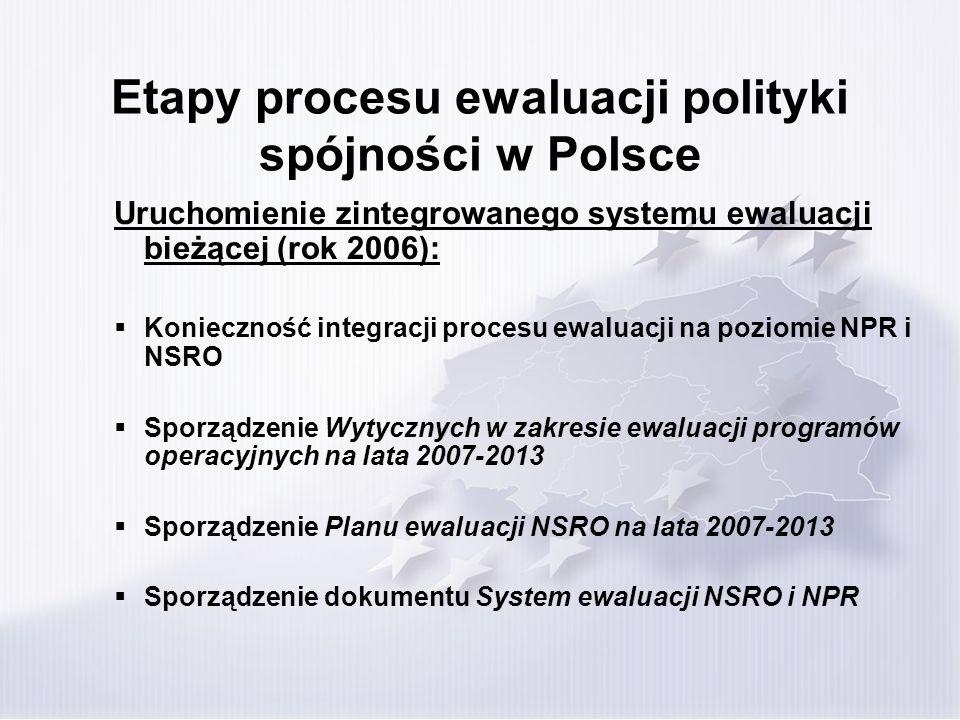 Etapy procesu ewaluacji polityki spójności w Polsce Uruchomienie zintegrowanego systemu ewaluacji bieżącej (rok 2006): Konieczność integracji procesu